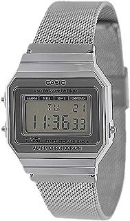 Casio Mens Quartz Watch, Digital Display and Stainless Steel Strap A700WM-1