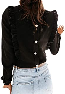 Abeaicoc Women Long Sleeve Ruffle Tops Solid Back Button Blouse Shirts