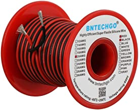 BNTECHGO 20 Gauge Silicone Wire Spool 100 feet Ultra Flexible High Temp 200 deg C 600V 20 AWG Silicone Wire 100 Strands of Tinned Copper Wire 50 ft Black and 50 ft Red Stranded Wire for Model