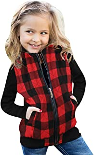 Ivay Girls Buffalo Cotton Plaid Quilted Vest Cute Puff Lined Gilet (7T/130cm, Rose Red)