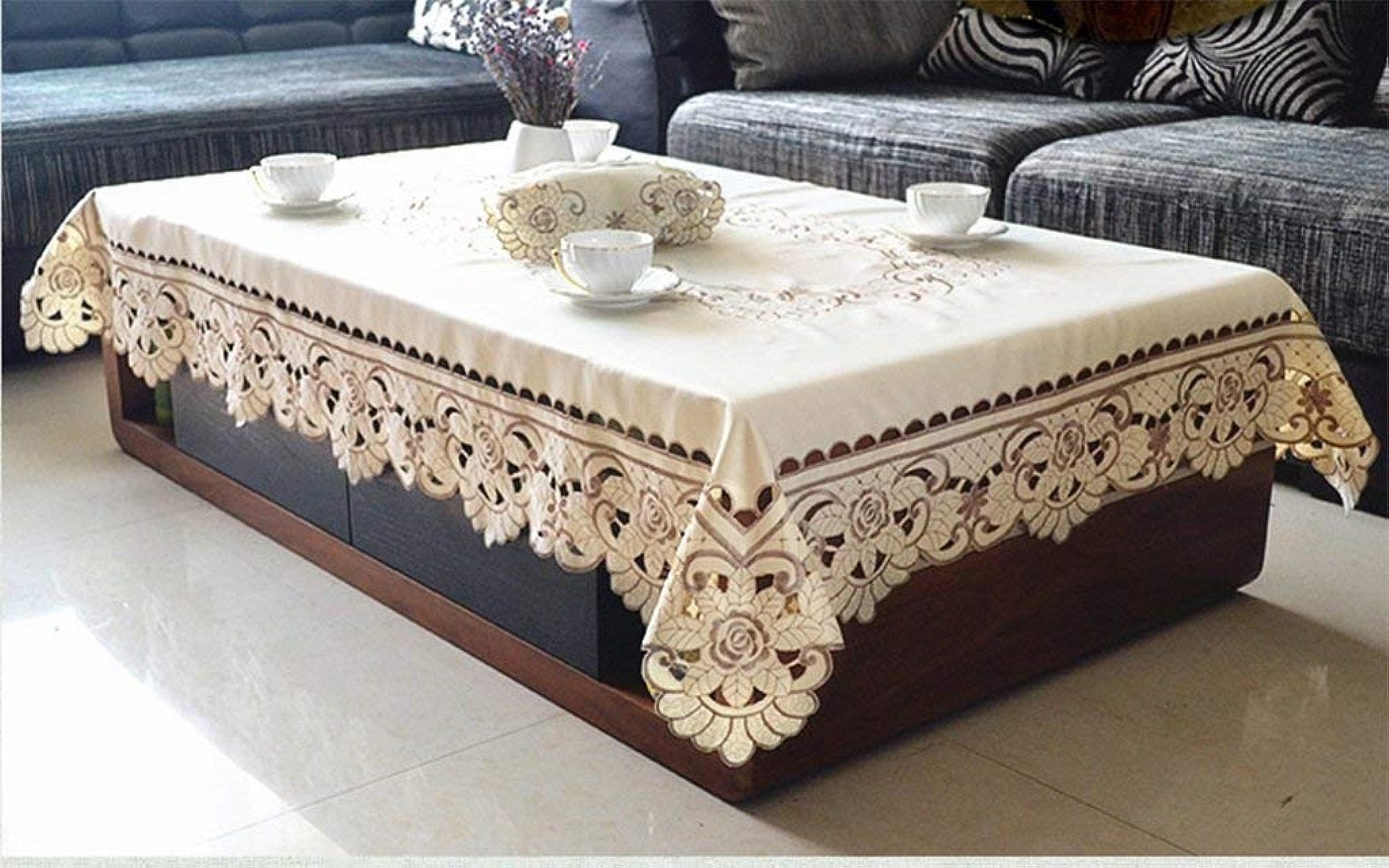 WG Table de salle à hommeger de style européen avec nappe de style nappe nappe de style cafe Table de tissu de table rectangulaire salon table à hommeger nappe voiturerée circulaire belle odeur de table bass
