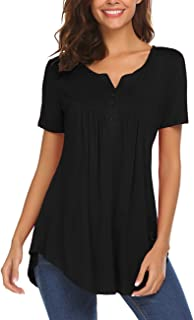 Women's Casual Long Sleeve Henley V-Neck Loose Fit Pleated Tunic Shirt Blouse Tops