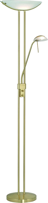Eglo Stehleuchte Modell BAYA mit Lesearm   in messing mattem Stahl   satiniertem Glas   HV 1 x R7S 230 W 1 x G9 33 W   inklusiv Leuchtmittel   Fluter und Lesearm an der Leuchte separat dimmbar   Hhe 180 cm   Fluter  44 cm   Sockel  28 cm 85973