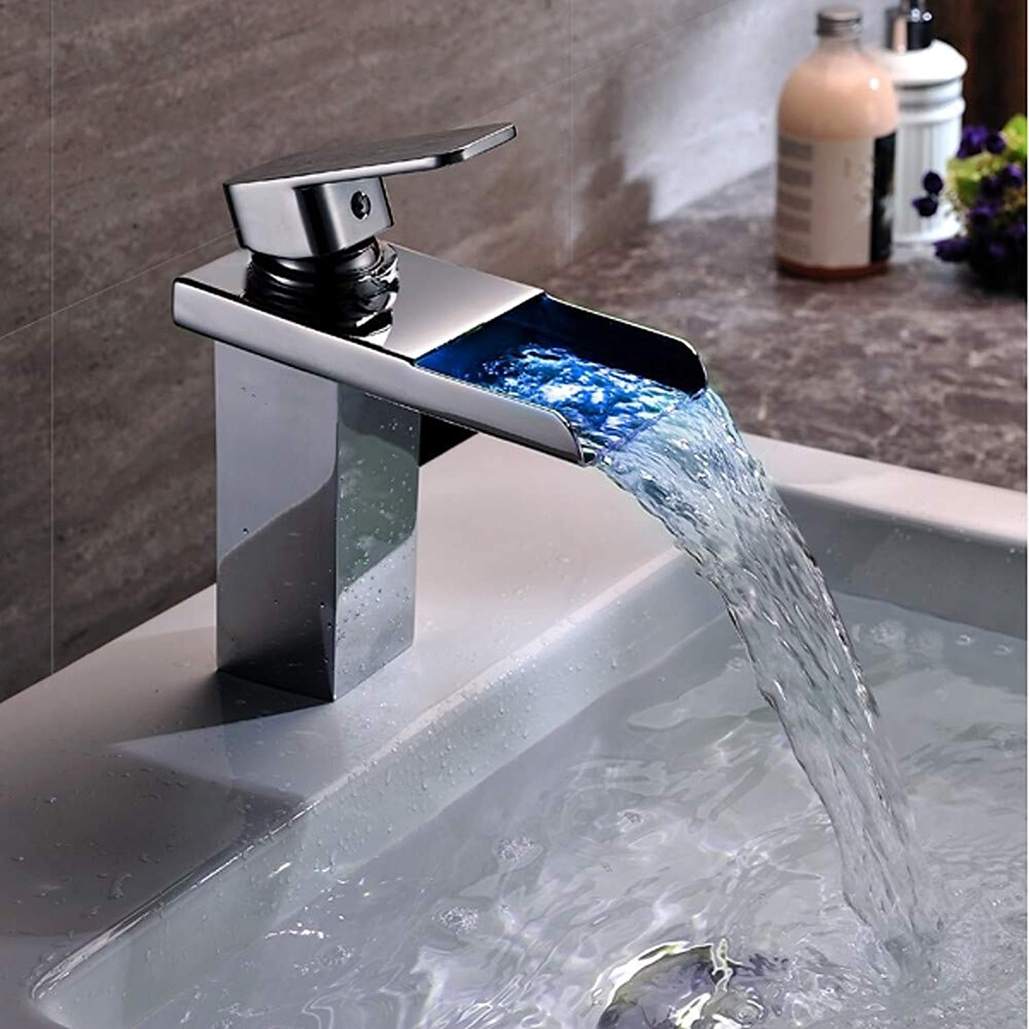 Bathroom Sink Faucet - Waterfall color-Changing Chrome Vessel Single Handle One Hole Brass LED,1