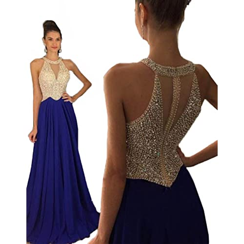 Fanciest Women s Crystal Beaded Prom Dresses 2019 Long Evening Gowns Formal 4db66fd4945e