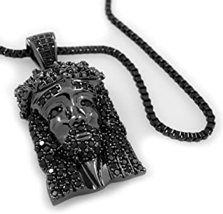 18K Black Gold Plated Mini Jesus Piece Iced Pendant with 1.5MM Box Chain
