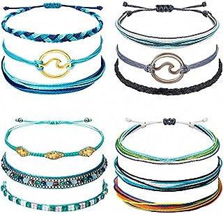 GEEMFEEL 12Pcs Bohemian Wrap Braided Bracelet Friendship Bracelets Kit Handmade Wave Anklets for Women Girls Colorful Wris...