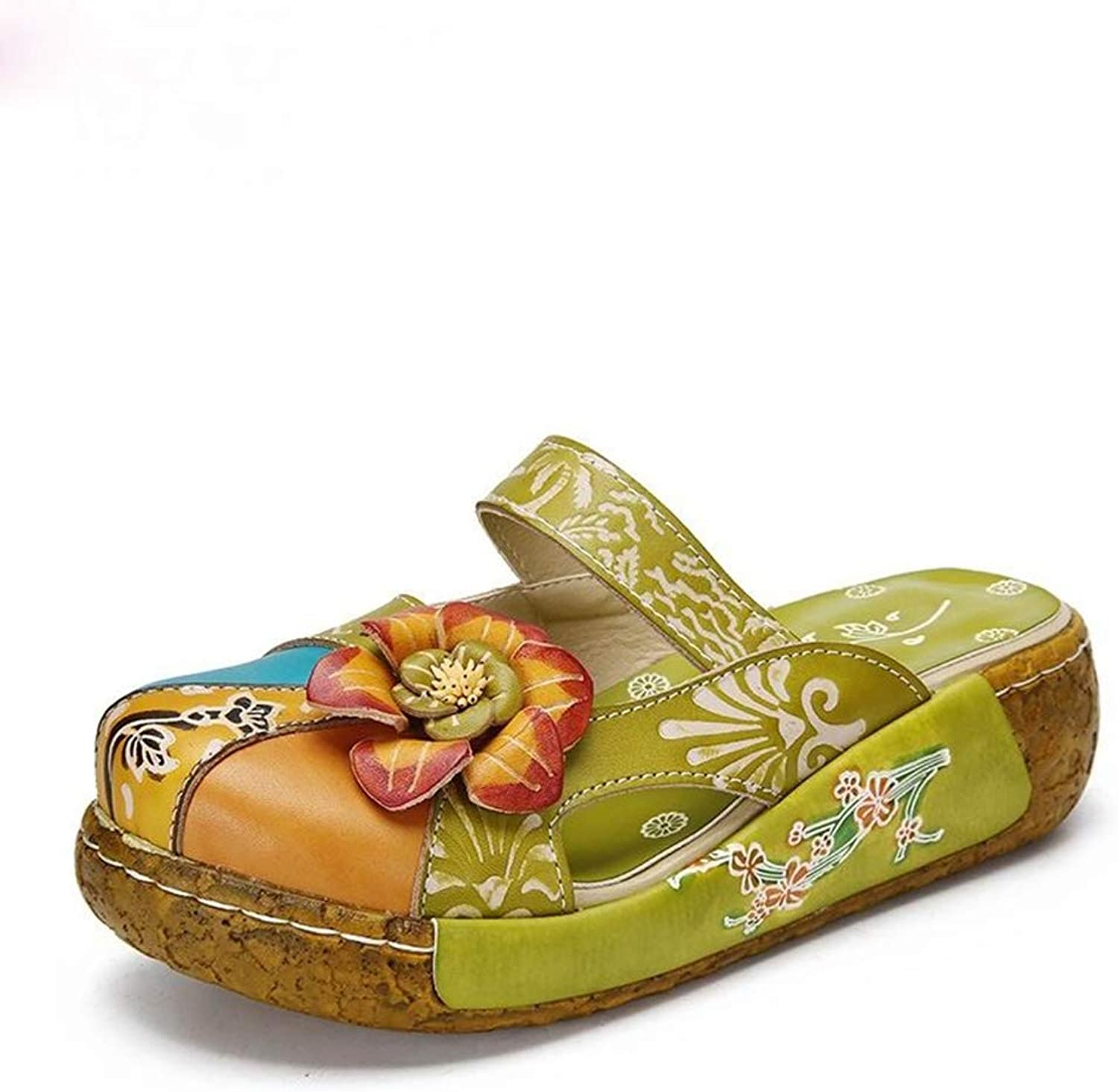 T -JULY Flower Sandals for kvinnor Genuine läder Handgjorda Slippers Platform Clogs Ladies skor