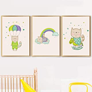woplmh Cartoon Cat Parachute Rainbow Rocking Horse Wall Art Canvas Painting Nordic Posters and Prints Wall Pictures-40x60cmx3 / no Frame