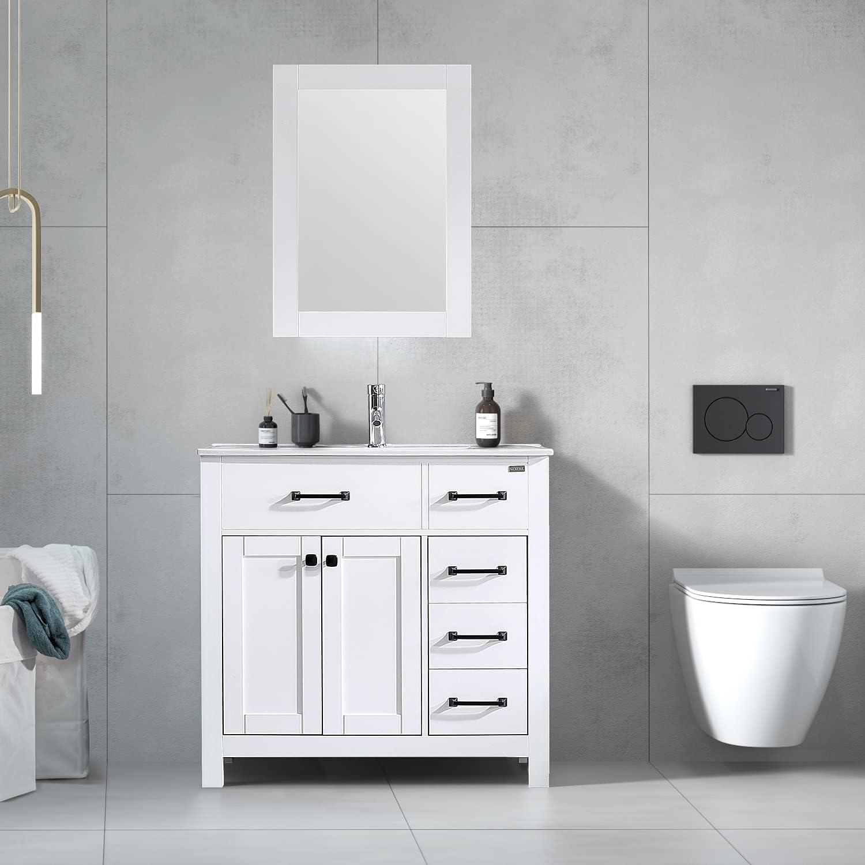 Buy Wonline 36 Bathroom Vanity And Sink Combo Cabinet Undermount Ceramic Vessel Sink Chrome Faucet Drain With Mirror Vanities Set Online In Vietnam B07zprtss1
