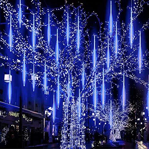 LED Meteorschauer Regen Lichter Meteor Lichterkette Außen Wasserdichte Lichterketten Licht aus 30cm 8 Tubes Schnur 144 LEDs für Dekoration Garten Hochzeit Weihnachten und Party (EU Stecker, Blau)