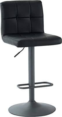 WHI , Black Adjustable Height Bar Stool, Set of 2, Faux Leather