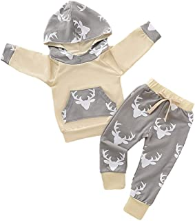 SEVEN YOUNG 2PCS Toddler Baby Girls Boys Clothes Deer Print Long Sleeve Hoodie + Pants Sweatsuit Outfit Set