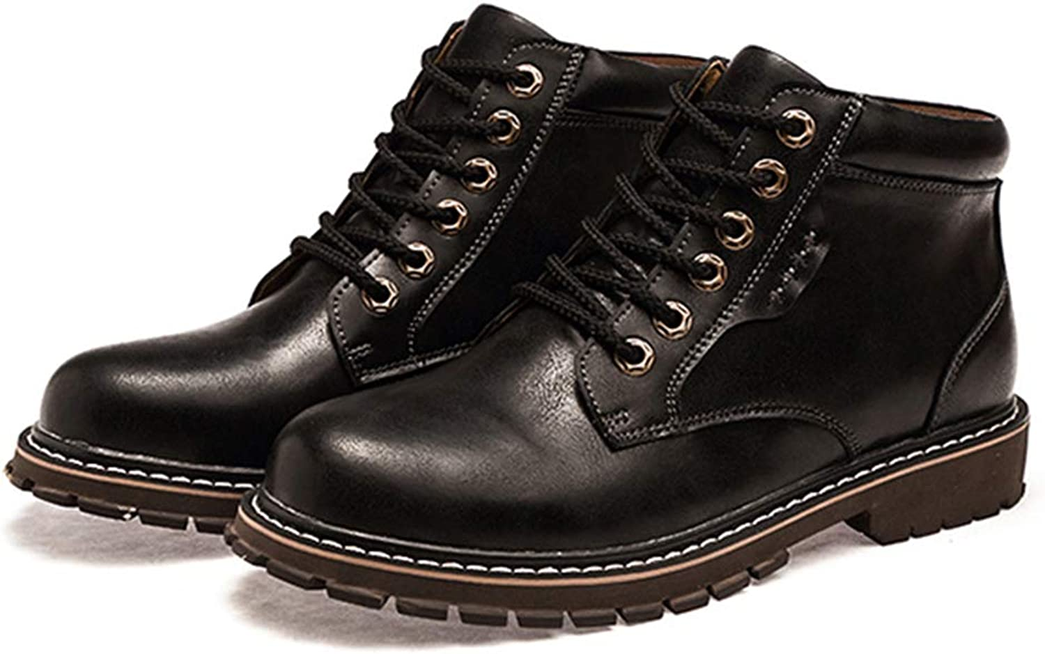 Mens Leather Work Boots Male Safety Boots Ankle Leather shoes Winter Martin Boots Lace Up Footwear with Thick Fur