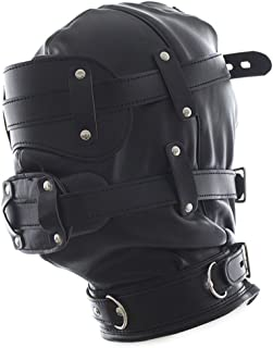 Hallowmas Adjustable Plug Pu Leather Soft Headgear Hood Mask Costume Accessory Fancy Dress Party Role Play