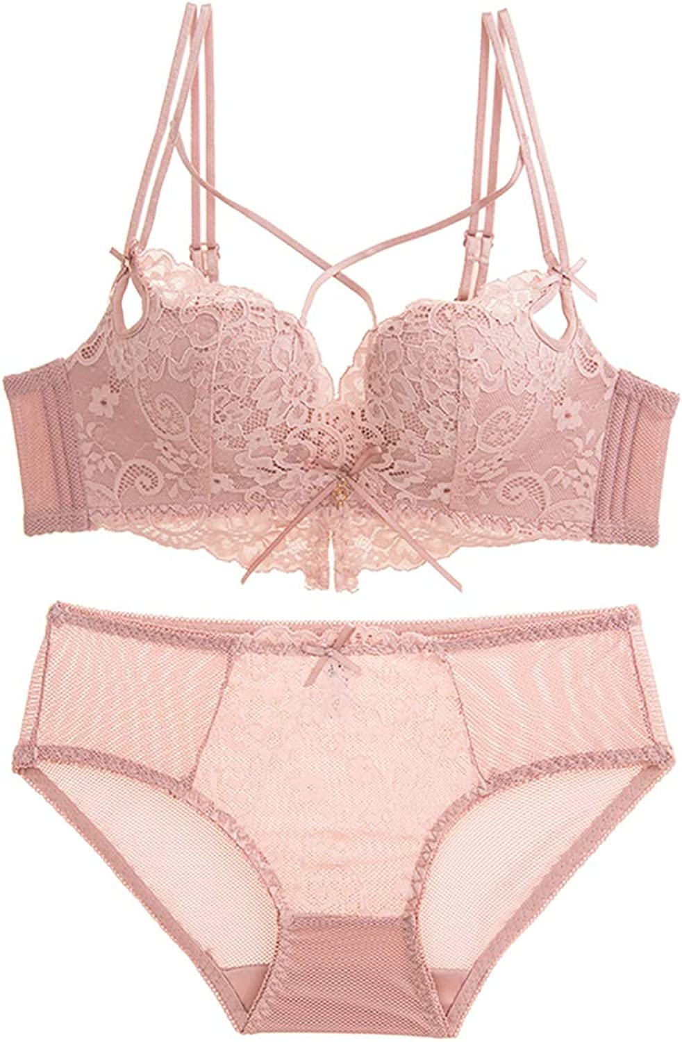 NICE' living hall Lace Embroidered Pattern Comfortably Gathered Openwork Sexy Bra Set, Sponge, no Steel Ring, Adjustable Chest Type, Four Rows of Three Buckles. Comfortable (Size   80A=34A=75A)