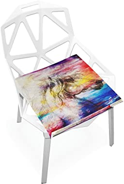 """PLAO Seat Cushion Pad, Oil Horse Painting Cushions Nonslip Chair Mats for Car Office Kitchen Chairs 16"""" X 16"""""""