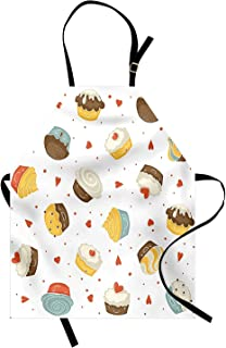 WAZZIT Dessert Apron Cartoon Pattern with Muffins and Cupcakes on White Background with Hearts and Dots Kitchen Bib Apron Unisex with Neck Strap for Cooking Baking Barbecuing, Multicolor