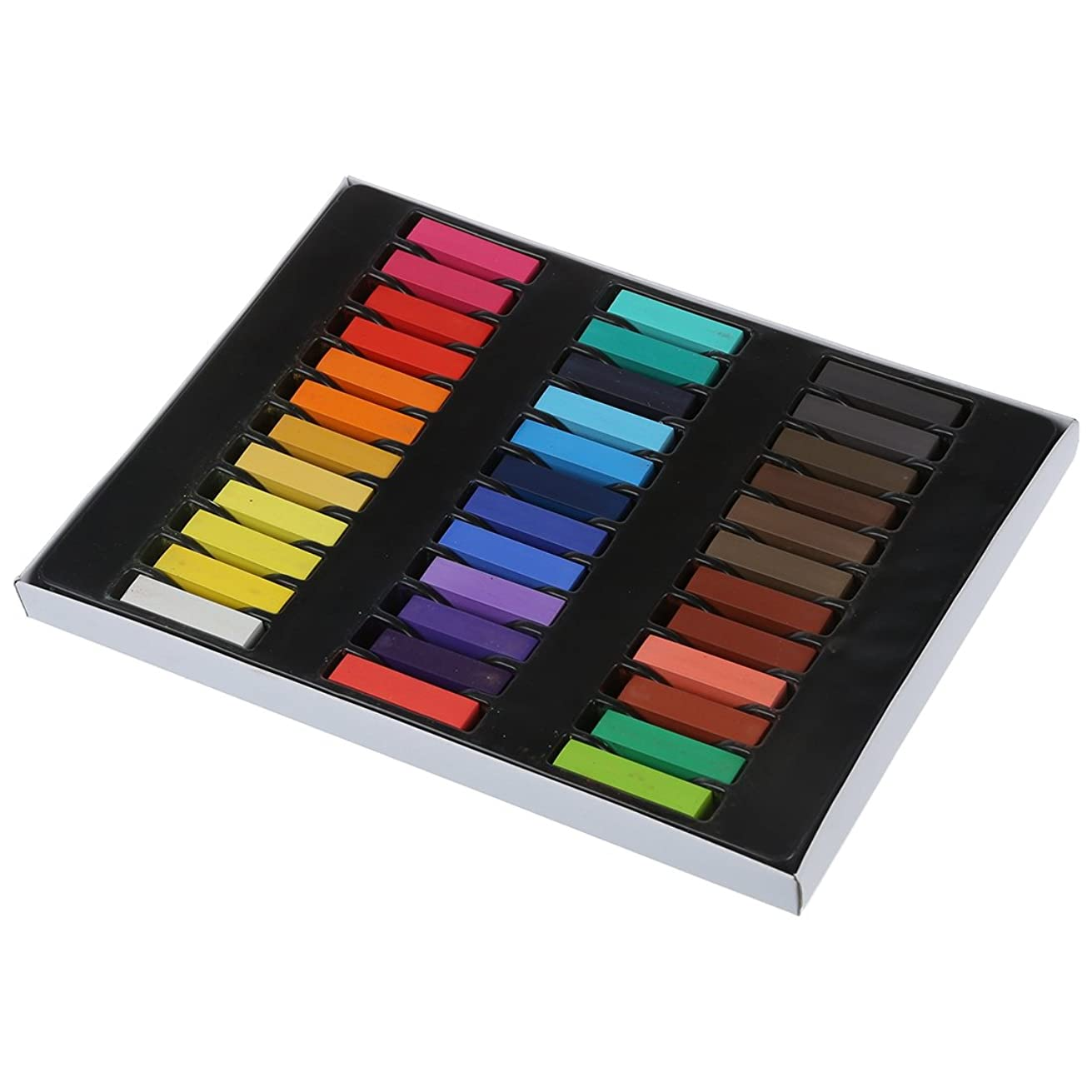 私たちの姓抗生物質SODIAL 36色の髪のチョーク有色の鉛筆 一時サロンキット パステル、ボックス付き