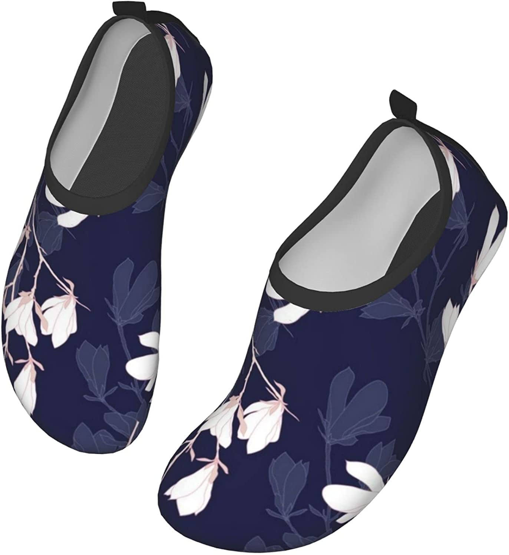 Magnolia Floral Men's Women's Water Shoes Barefoot Quick Dry Slip-on Aqua Socks for Yoga Beach Sports Swim surf