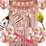 21st Birthday Decorations for Women, Rose Gold 21 Birthday Party Decoration for Her, 21st Happy Birthday Banner Kits Rosegold Balloons Decoration for Girls Women 21st Birthday Party Supplies