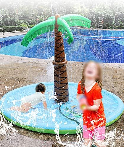 ZDJ Sprinkle Wasser-Spiel-Matte, Splash Pad Kokospalme Inflatable Familienaktivitäten im Freien Garten kühler Sommer wesentlich Kinderspielzeug