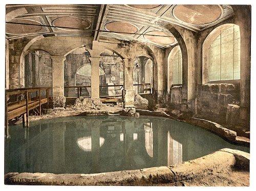 Foto: Baños romanos, Abbey, de baño Circular, para bañera, Inglaterra, c1895