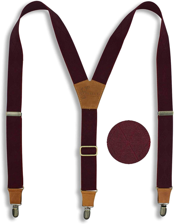 Suspenders Burgundy Elastic Wide 1.36 inch | Wiseguy Original (XL / XXL)