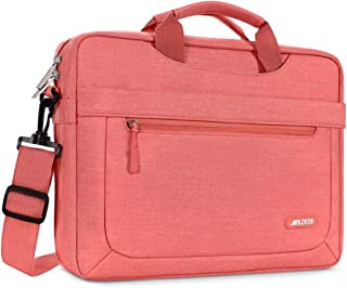 MOSISO Laptop Shoulder Bag Compatible with 13-13.3 inch MacBook Pro, MacBook Air, Notebook Computer with Adjustable Depth at Bottom, Polyester Messenger Carrying Briefcase Handbag Sleeve, Living Coral