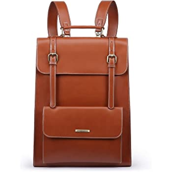 ECOSUSI Laptop Backpack for Women PU Leather Backpack Vintage for Laptop 15.6 inches School Bag College Bookbag, Brown