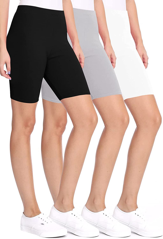 FashionJOA Women's Casual Seamless Elastic High Waist Running Yoga Biker Shorts Pants (Pack of 3)