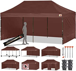 ABCCANOPY 23+ Colors Deluxe 10x20 Pop up Canopy Outdoor Party Tent Commercial Gazebo with Enclosure Walls and Wheeled Carry Bag Bonus 6 Weight Bags,2 Half Walls and 1 Screen Wall (10x20 Feet, Brown)