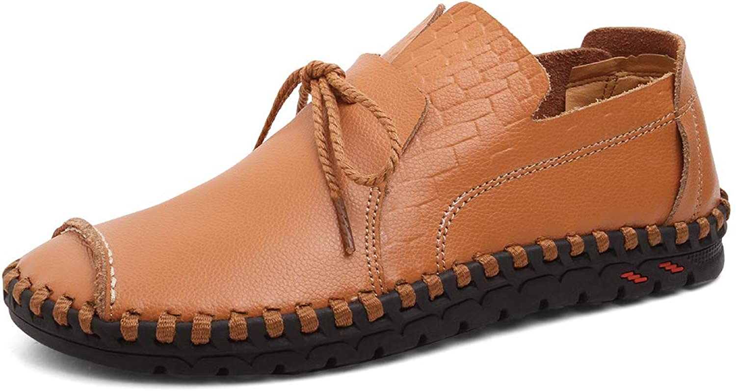 Cemarssi Men's Driving shoes Leather Fashion Slipper Casual Slip on Loafers shoes in Summer