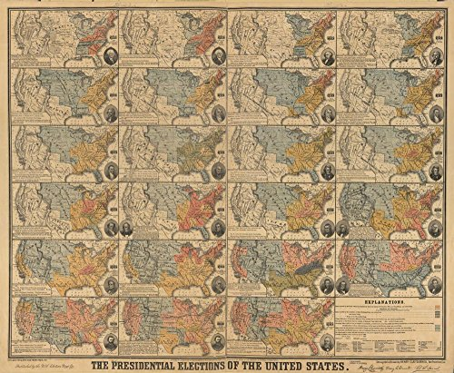 United States 1877 Map (20 inch x 24 inch - Frame Ready) The presidential elections of the United States Relief shown by hachures. Shows political party which carried each United Sates map (14 x 26
