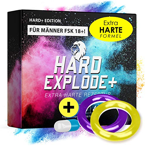 *NEU* Original HardExplode - Das Natürliche Potenzmittel mit der einzigartigen HE+ Formel I NEUTRALE LIEFERVERPACKUNG I 4 Hochdosierte Inhaltsstoffe (+ Gelber & Lila Ring)