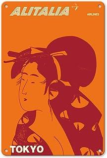 22cm x 30cmヴィンテージハワイアンティンサイン - 東京、日本 - 芸者 - アリタリア航空 - ビンテージな航空会社のポスター c.1960s