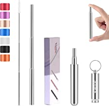 Vantic Reusable Metal Straws, Collapsible Stainless Steel Portable Drinking Straw with Cleaning Brush & Travel Case Silver