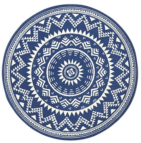 Hanse Home Alfombra de Terciopelo Valencia, Redonda, 200 cm de diámetro, Color Azul y Crema