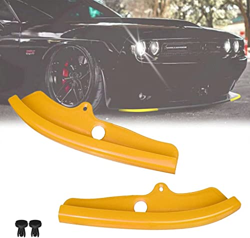 popular GANGMU TEC Pair of Front Bumper Lip Protection Cover, 2021 Yellow Splitter Protector Compatible with Dodge sale 2015-2021 Challenger Scat Pack Models Only outlet sale