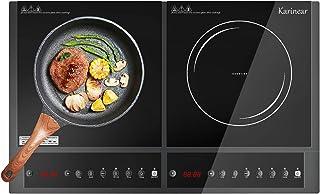 Karinear Plaque induction 2 feux - Tables de cuisson à induction avec contrôle bouton, arrêt automatique, Minuterie, Verro...