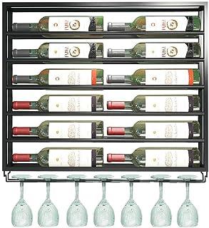 LDM Estante para Botellas de Vino y Vidrio de Hierro de Metal montado en la Pared Estante de Almacenamiento de 2 Niveles...