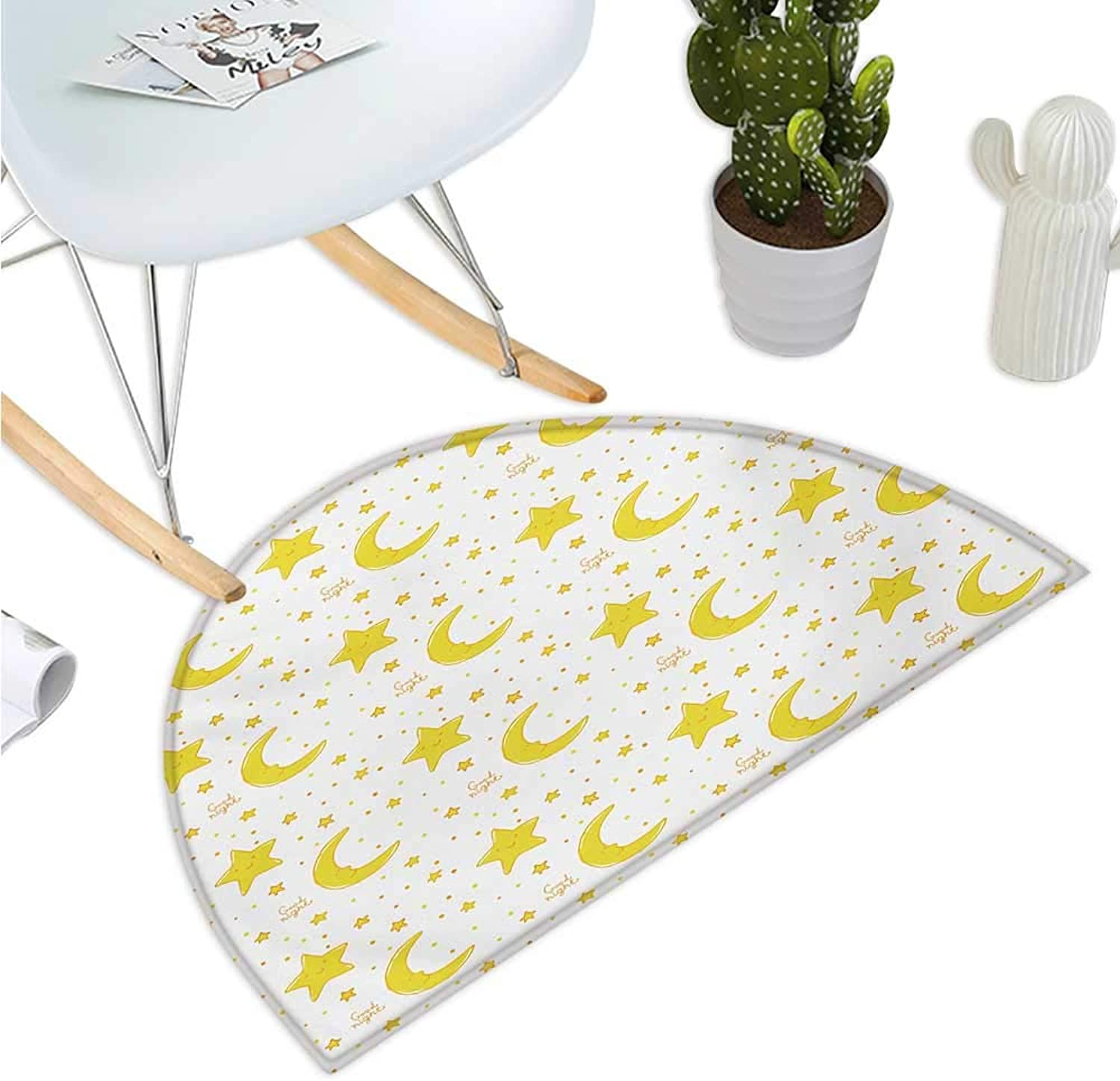 Yellow and White Semicircle Doormat Sleeping Crescent Moon and Stars Pattern Night Time Cartoon Illustration Entry Door Mat H 39.3  xD 59  Yellow White