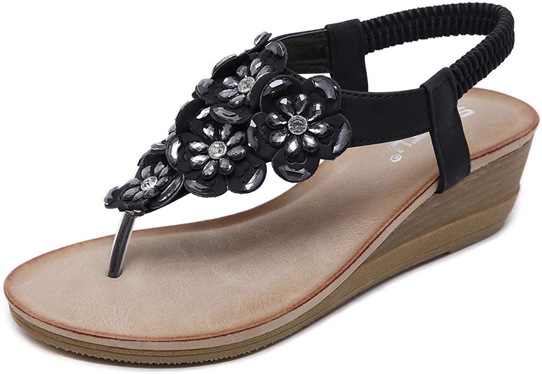 AGOWOO Womens Zandalias Flower Beaded Thong Beach Wedge Sandals