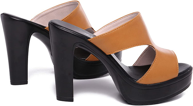 Womens Open Toe Platform Heels Sandals High Heel Block Evening Party Slide Shoes