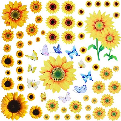 85 Piezas Pegatinas de Girasol para Pared con Pegatinas de Mariposa 3D de Pared Pegatinas Murales de Girasol de Varios Tamaños de Bricolaje Calcomanías Removibles de Pared para Decoración