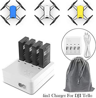 Tello Charger, COOLWAS 4 in 1 Charger for DJI Tello Battery Rapid Charging Hub Charging Accessories with Storge Bag