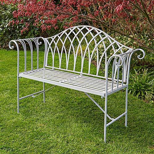 BFW Willow Grey Garden Bench Metal 2 Seater Patio Chair