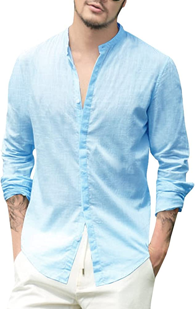 Time sale Enjoybuy Mens Linen Cotton Shirt Collar Courier shipping free Banded Sleev Casual Long