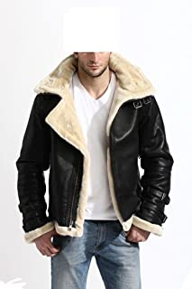 KAAZEE Mens Stylish Bomber B3 Removable Hood Black Sheepskin Full Fur Leather Jacket