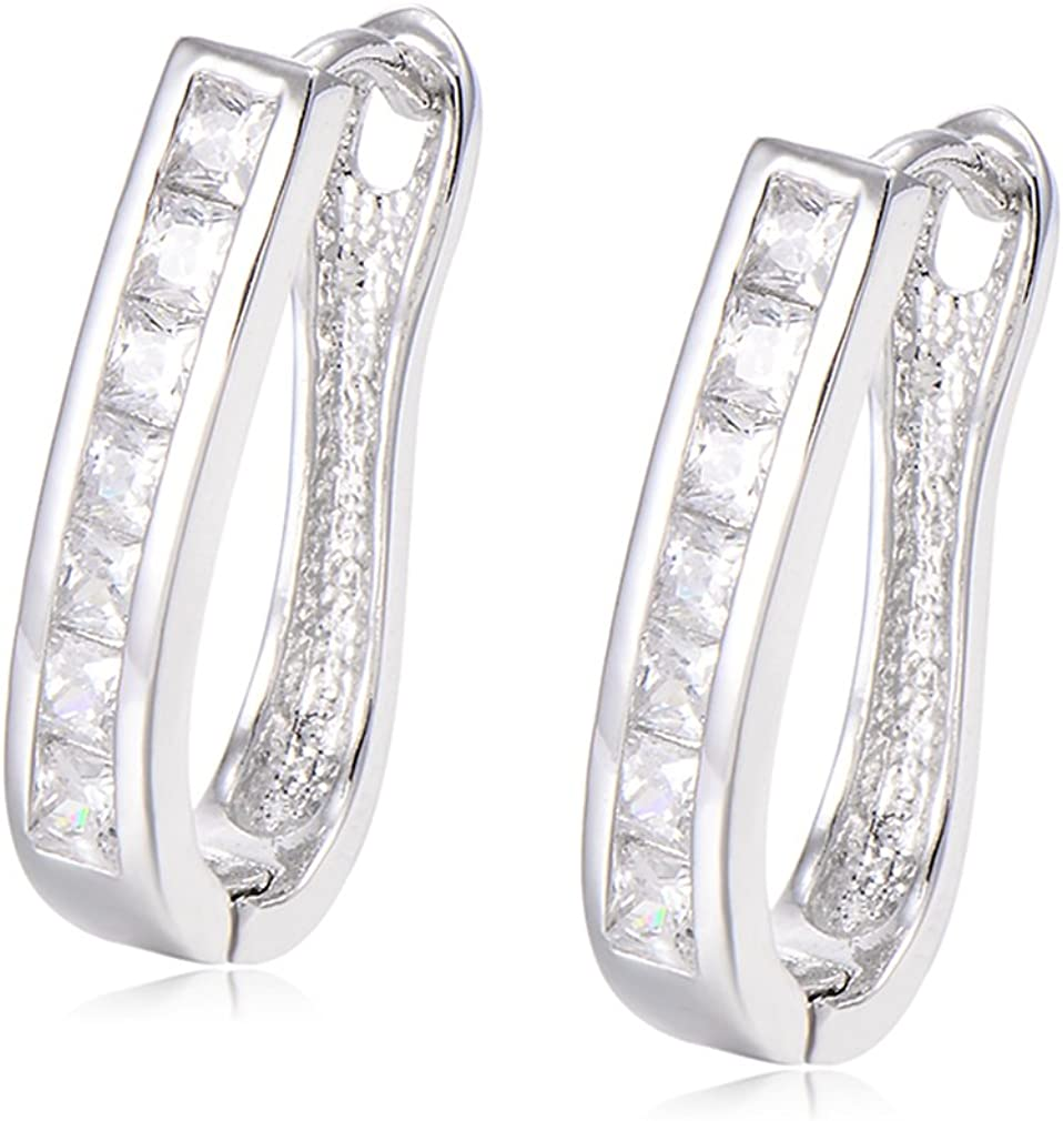 YAZILIND Fashion Inlaid Cubic Zirconia small Hoop Earrings Hypoallergenic Ideal Gift for Women Girl